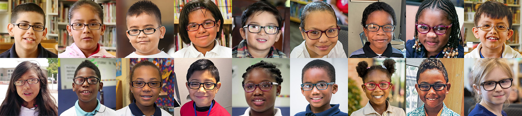 18 faces of children with their new eyeglasses