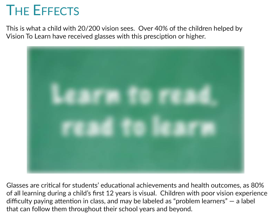 "The Effect:  Poor vision leads to be labeled a ""problem learner"".  Kids fall behind in school."