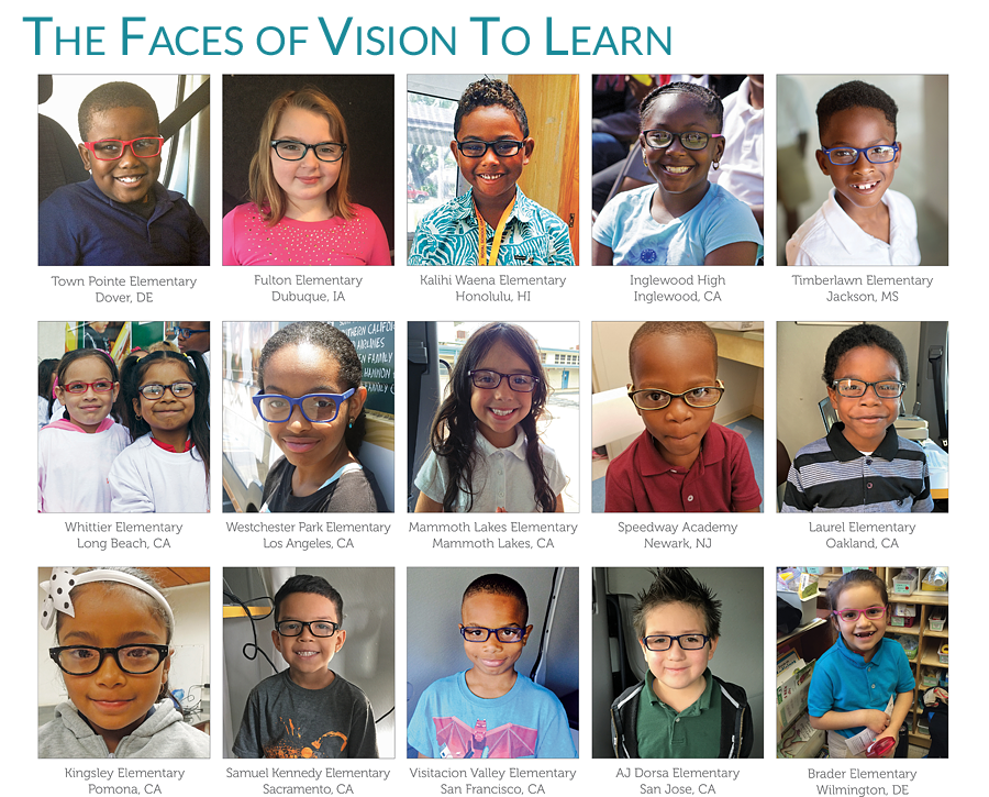 The faces of children that have received glasses from Vision To Learn.