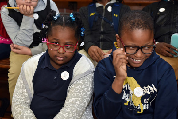 Students show off their new glasses, Thomasboro Academy, April 25, 2018