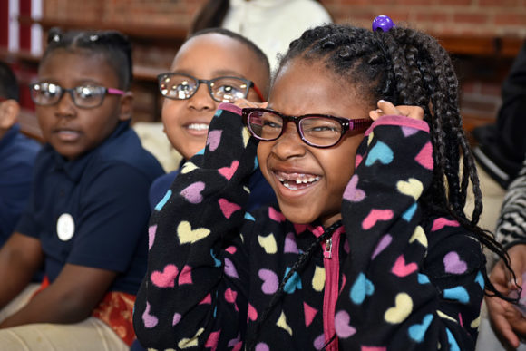 New glasses and big smiles, Thomasboro Academy in Charlotte, April 25, 2018