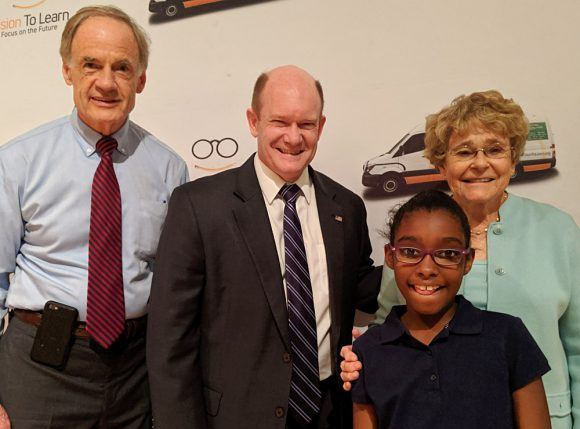Delaware Senators Tom Carper and Chris Coons joined in the celebration at Stubbs Elementary School in Wilmington.