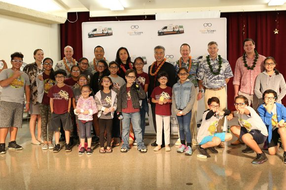 Students receiving new glasses throughout windward Oahu