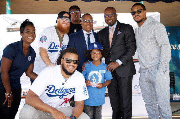 "Enjoying the kickoff in Compton with a McNair student, May 25, 2018: Nichol Whiteman, Executive Director, Los Angeles Dodgers Foundation; Kenley Jansen, Los Angeles Dodger; Justin Turner, Los Angeles Dodger; Media Mogul Percy ""Master P"" Miller; Compton Unified Superintendent Dr. Darin Brawley; President of Compton Unified School Board Micah Ali; and Actor and Musician Romeo Miller"