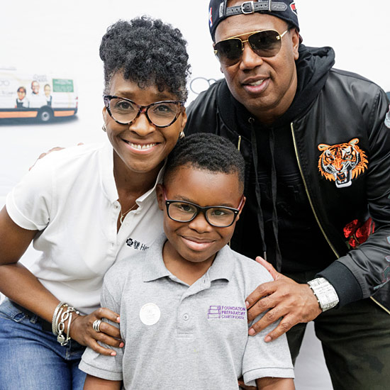 Kathy Fletcher Victorian of Healthy Blue and Master P with a Foundation Preparatory Charter School student, April 26, 2018