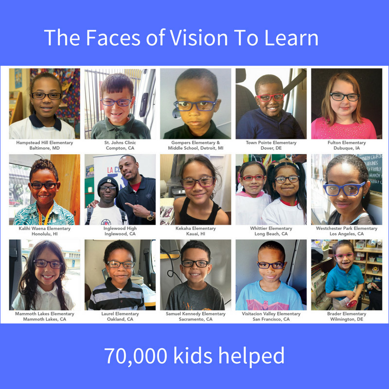Celebrating the Faces of Vision To Learn and 70,000 eye exams!