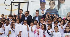 Whittier Elementary school children receiving their glasses from Vision to Learn