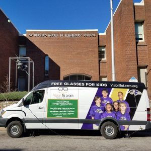 Harris Elementary School in Baltimore with Vision To Learn Mobile Clinic