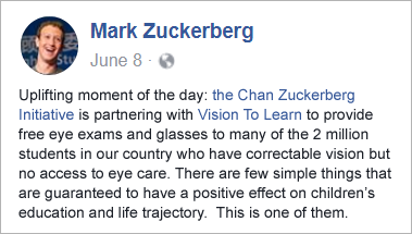 Mark Zuckerberg announcement on facebook