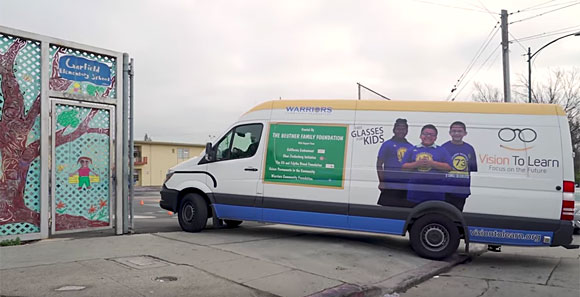 Vision To Learn clinic pulling in to Garfield Elementary School in Oakland