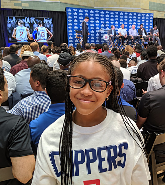 Students received glasses at Los Angeles Green Meadows Recreation Center on July 24, 2019, as part of a Clippers-sponsored event.