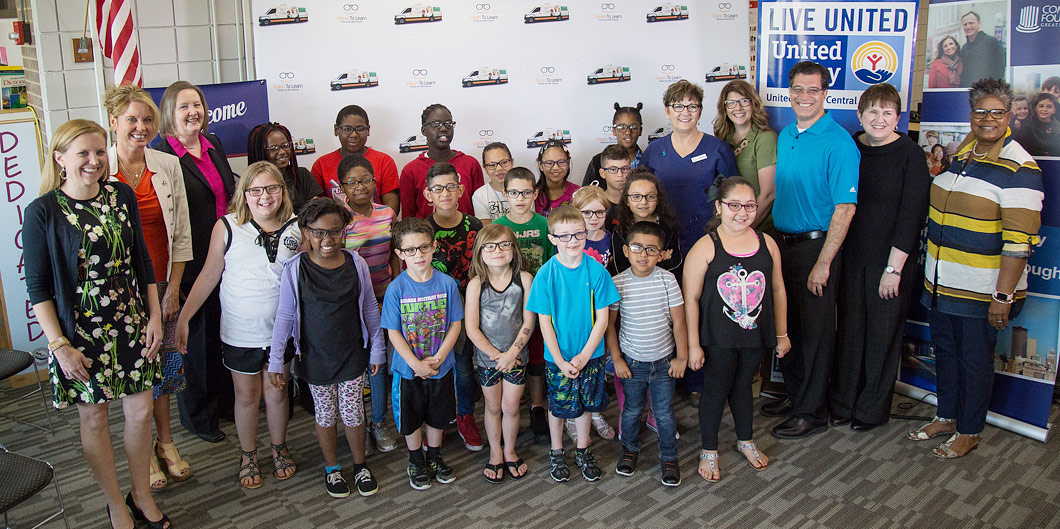 Students in Des Moines, Iowa receive their new glasses