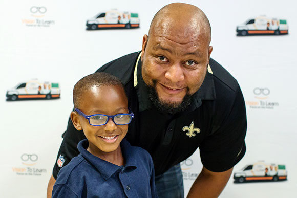 "New Orleans Saints legend Deuce McAllister was on hand to give glasses to children at Vision To Learn's Jackson kickoff event at Timberlawn Elementary School, May 2017. He spoke to the kids, saying, ""You're faced with a lot of challenges already. This is probably one of the missing pieces."