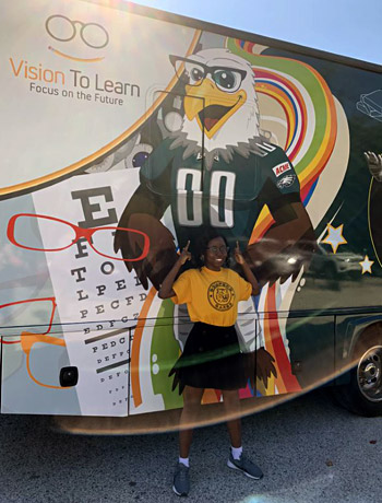 The Eagles Eye Mobile — powered by Vision To Learn, visited Samuel Gompers School to kick off services in the Philadelphia area in partnership with The Eagles Charitable Foundation, October 2019.
