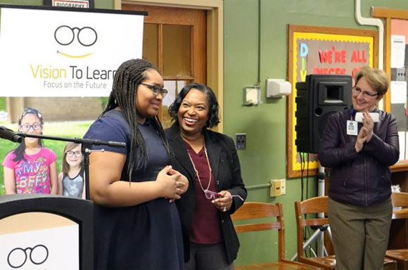 A fifth grader at Aberdeen K-8 was among the first to receive glasses from Vision To Learn in Grand Rapids, January 24, 2019