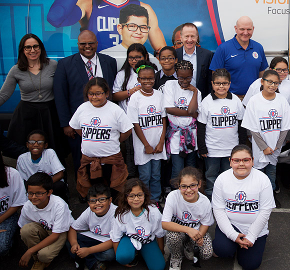 Clippers President of Business Operations Gillian Zucker, Austin Beutner, Clippers owner Steve Ballmer, and others on hand to celebrate.