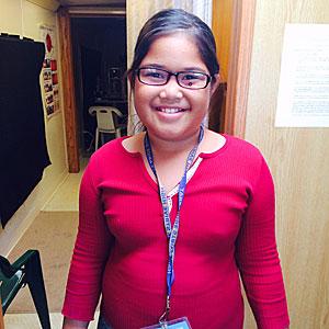 Hawaiian school girl in new glasses