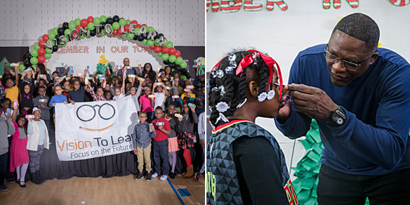 Atlanta Hawks Foundation and NBA Hall of Famer Dominique Wilkins are #TrueToAtlanta helping elementary children receive glasses.