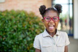 Timberlawn Elementary School Children receive their new glasses