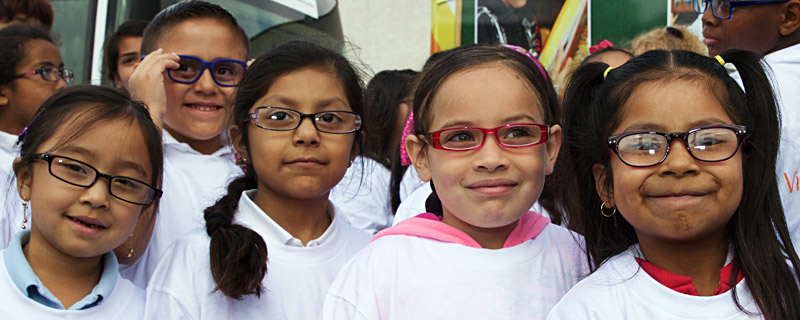 Children posing with new glasses
