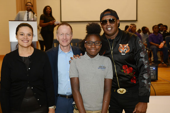 Atlanta Public Schools Superintendent Meria J. Carstarphen , Austin Beutner, Master P, and a student from KIPP Ways Academy School in Atlanta, April 25, 2018