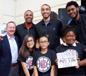 LA Clippers Paul Pierce, Brice Johnson, and Diamond Stone, with kids from Washington Middle School in Long Beach