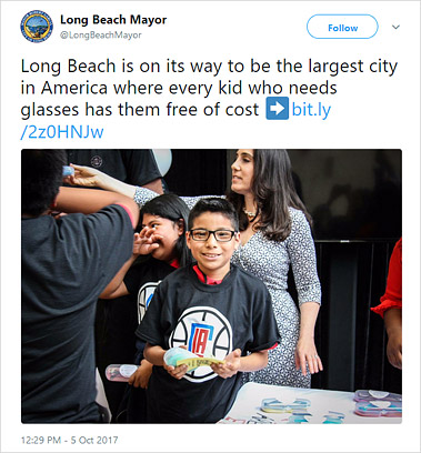 Tweet from Long Beach Mayor