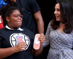 Long Beach Student with Gillian Zucker, President of Business Operations for the L.A. Clippers
