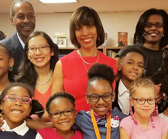 Baltimore Mayor Catherine Pugh is on hand to celebrate with students who received glasses at Dr. Bernard Harris Sr. Elementary School, March 2017.