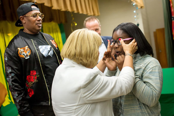 The profound first moment when a student can see clearly, with Mississippi First Lady Deborah Bryant, Master P, and Austin Beutner, April 26, 2018