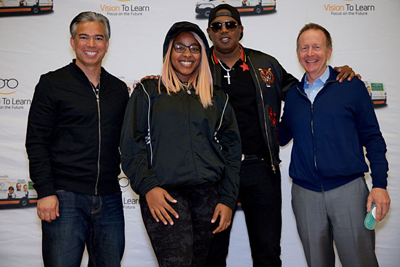Assemblyman Rob Bonta, Master P, and Austin Beutner with a student from Oakland High School.