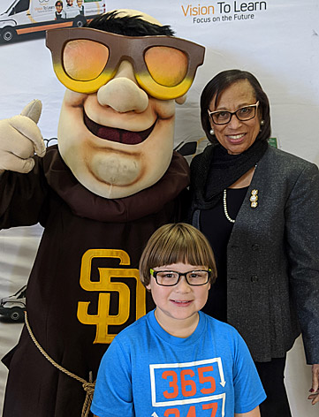 San Diego Unified Board President Dr. Sharon Whitehurst-Payne joins in the fun with the San Diego Padres mascot.