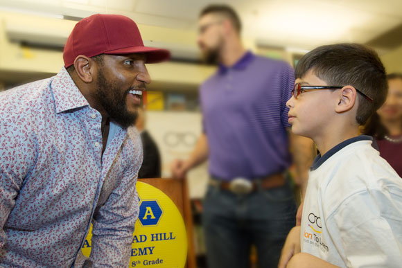 "Baltimore Ravens legend Ray Lewis told students at Vision To Learn's kickoff at Hampstead Hill Academy in Baltimore, ""Glasses are freakin' cool!""  May 2016."