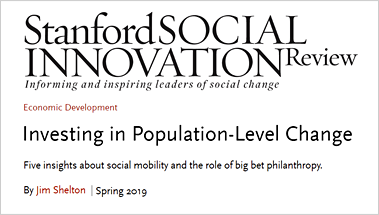 Stanford Social Innovation Review Article by Jim Shelton