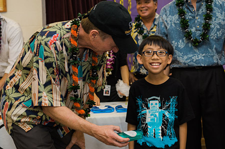 Student in Hawaii receiving new glasses