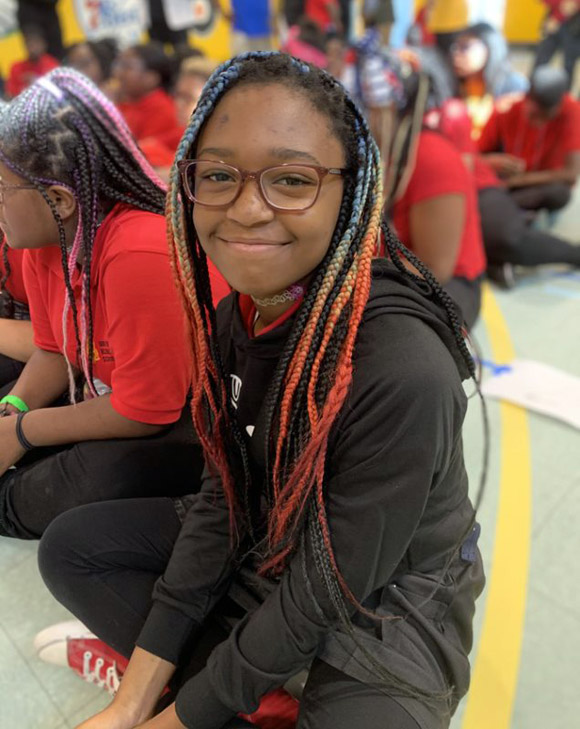 Student with new glasses in Philadelphia