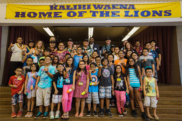Students from Kalihi Waena Elementary School who just received their glasses. Honolulu, August 2015.