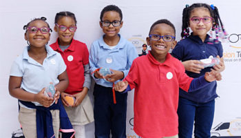 Students at Toney Elementary in Decatur, Ga. celebrated receiving new glasses from Vision To Learn and the Atlanta Hawks earlier this month.