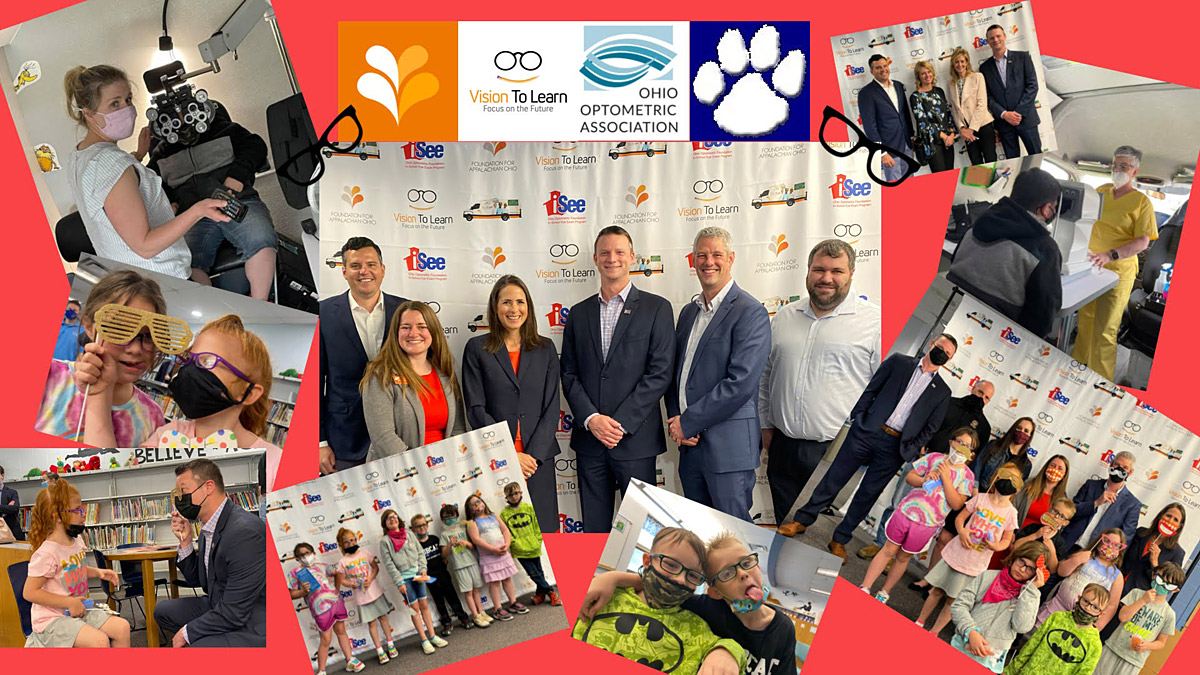 Collage of images with Vision To Learn and Ohio Optometric Association